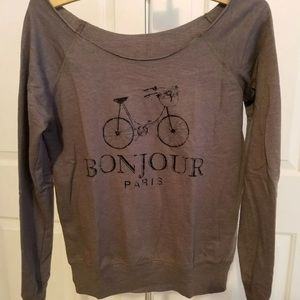 BONJOUR Paris Sweet Bicycle Bike Sweatshirt Top
